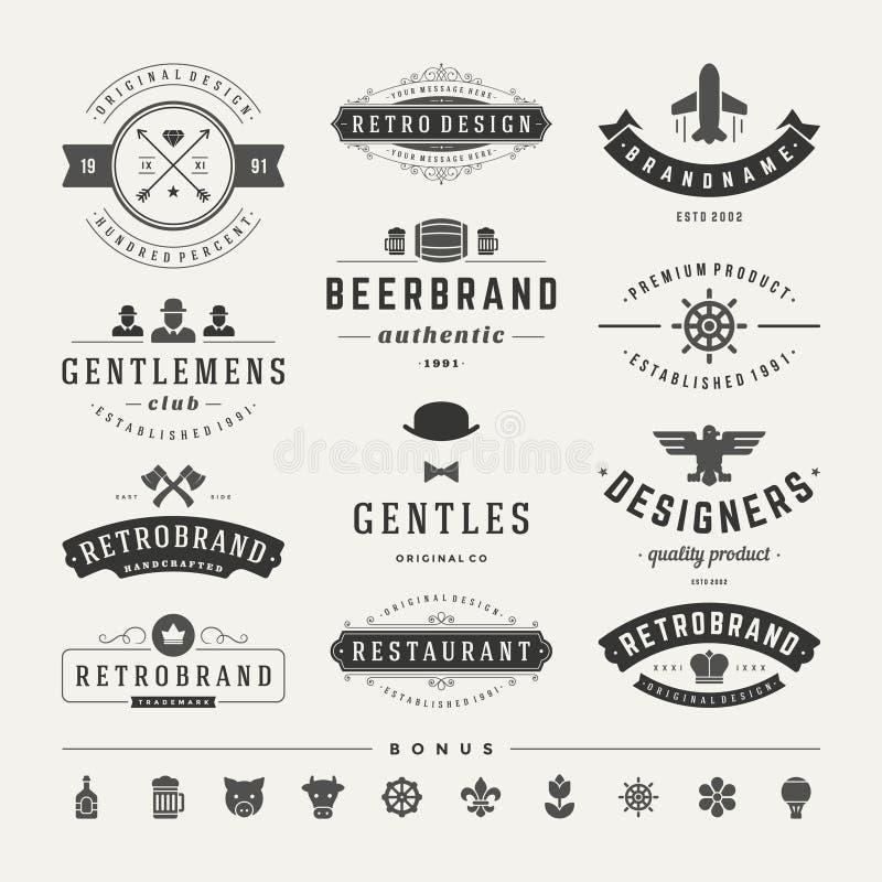 Ретро винтажные Insignias или установленный логотипами вектор иллюстрация штока