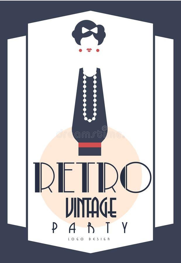 Ретро винтажный дизайн логотипа партии, элемент с элегантной дамой для плаката, знамени, рогульки, карточки, брошюры, карточки пр иллюстрация штока