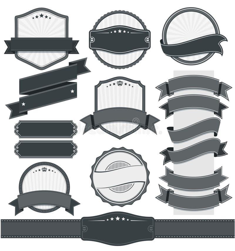 Ретро винтажный значок, ярлык и комплект знамени иллюстрация штока