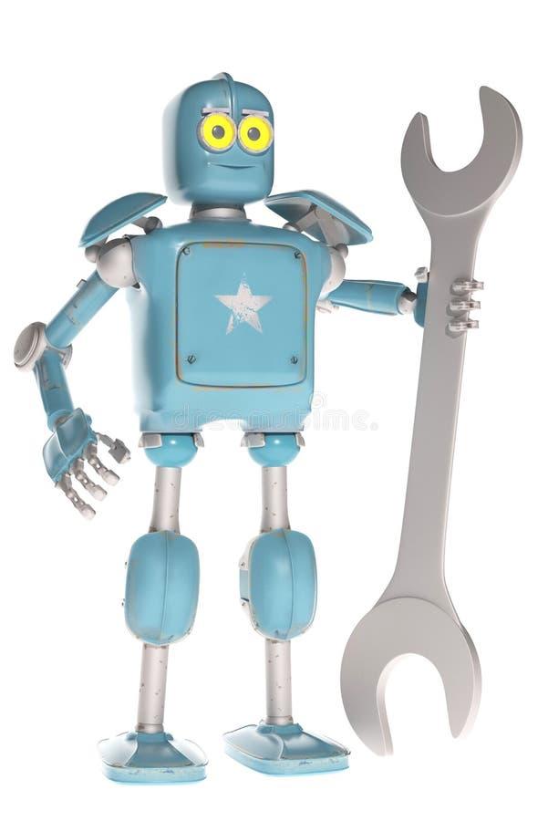 Ретро винтажный робот с гаечным ключом; на белой предпосылке иллюстрация вектора