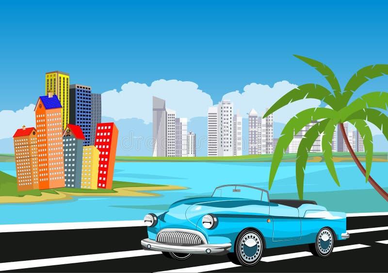 Ретро винтажный старый автомобиль на дороге, ладони пляжа, бесплатная иллюстрация