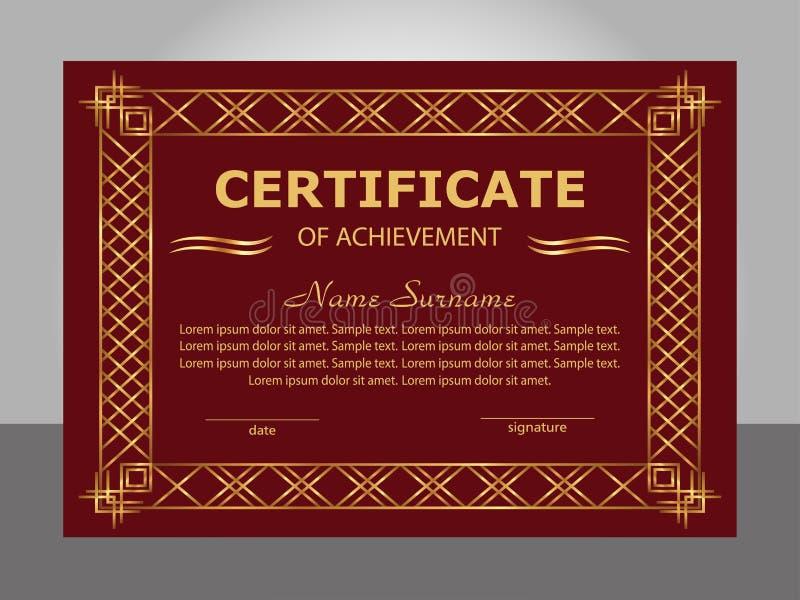 Ретро винтажный шаблон достижения сертификата Золотой и красный f иллюстрация вектора