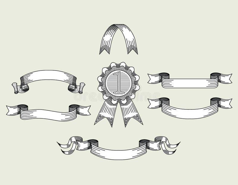 Ретро винтажными установленная лентами иллюстрация вектора бесплатная иллюстрация