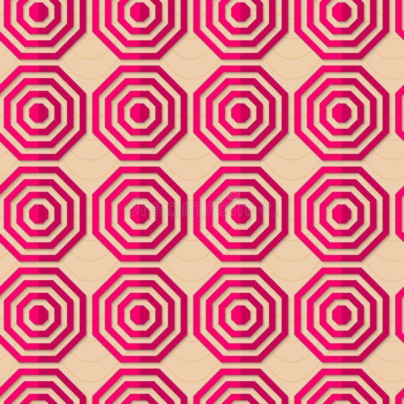 Ретро восьмиугольники створки striped пинком иллюстрация штока