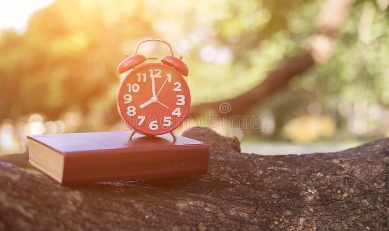 Ретро время часов на 8 часах с тетрадью или памяткой на деревянной таблице, времена памяти писать концепции дневника винтажный то стоковые изображения