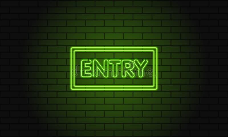 Ретро вход надписи клуба Винтажный электрический шильдик с яркими неоновыми светами Зеленый свет падает на предпосылку кирпича ве иллюстрация штока