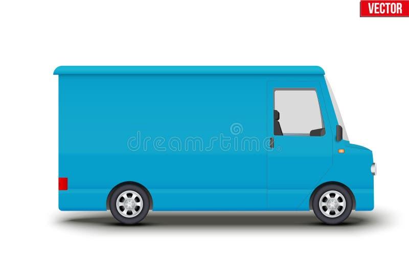 Ретро голубое обслуживание фургон минибус иллюстрация вектора