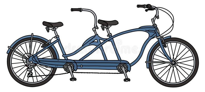 Ретро голубой тандемный велосипед иллюстрация вектора