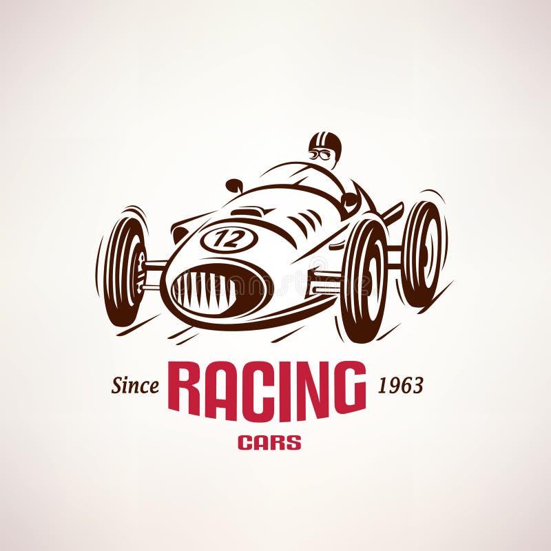Ретро гоночная машина, винтажный символ вектора иллюстрация штока
