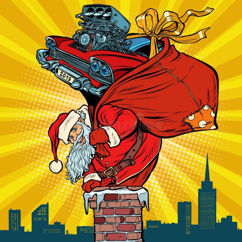 Ретро гоночный автомобиль Санта Клаус с подарками взбирается в печную трубу иллюстрация вектора