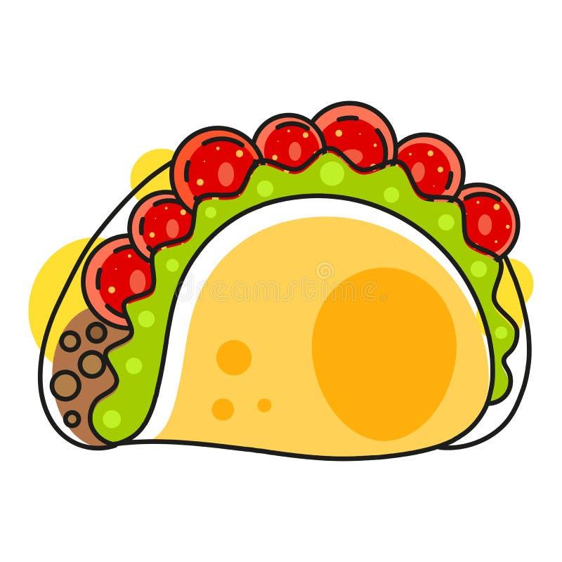 Ретро горячий мексиканский значок Фаст-фуд E Органические ингредиенты Мексиканская еда тако m иллюстрация штока