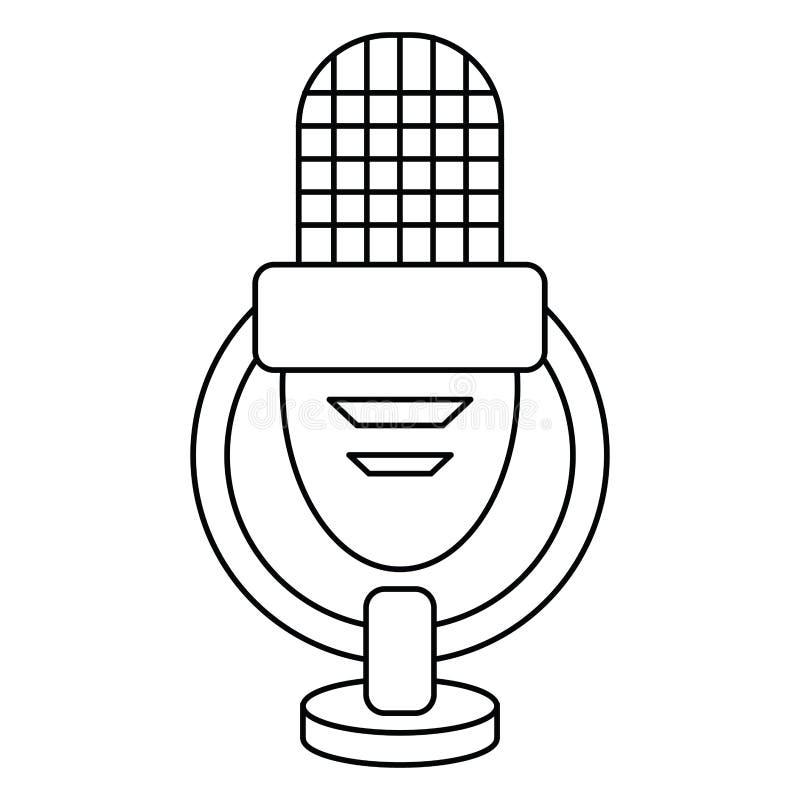 Ретро голос микрофона утончает линию бесплатная иллюстрация