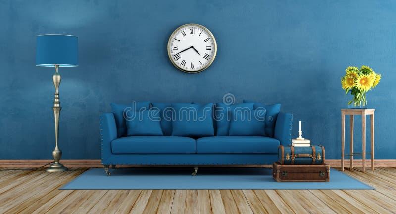 Ретро голубая живущая комната иллюстрация вектора