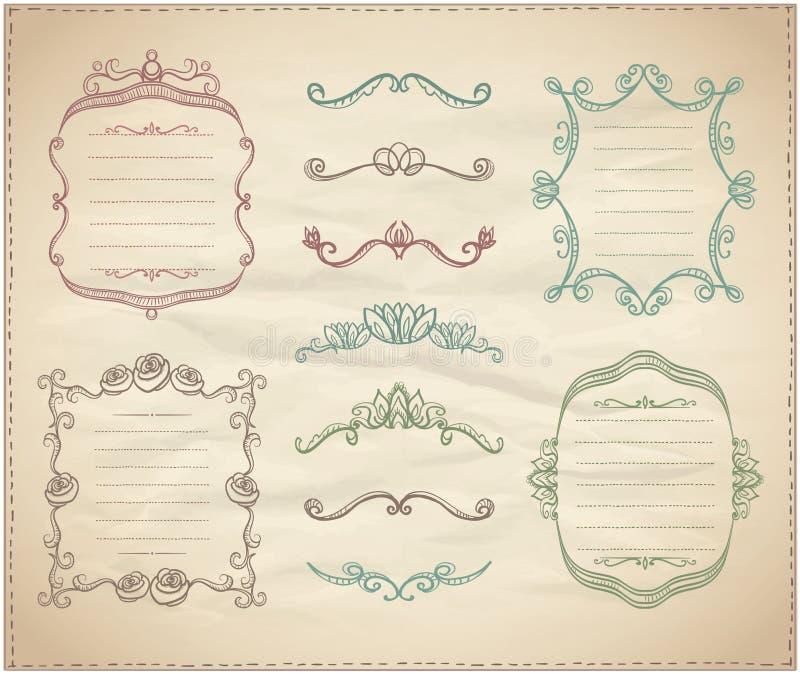 Ретро графическая линия элементы, рассекатели и рамки вензеля на бумаге иллюстрация штока