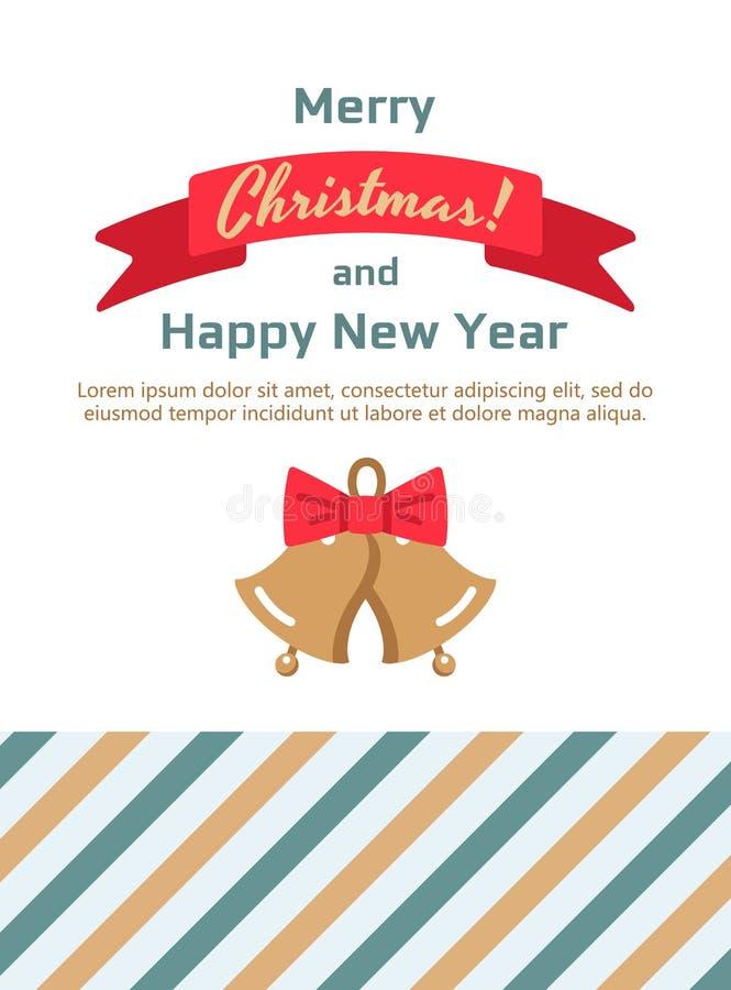 Ретро декоративные колоколы рождества, cardn рождества вектора иллюстрация вектора