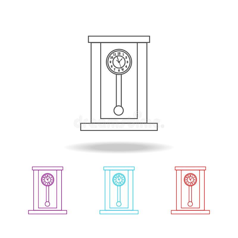 Ретро деревянная линия значок часов маятника вилки конструкции часов кафа брошюры формируют ложки иконы рук Наградной качественны иллюстрация штока