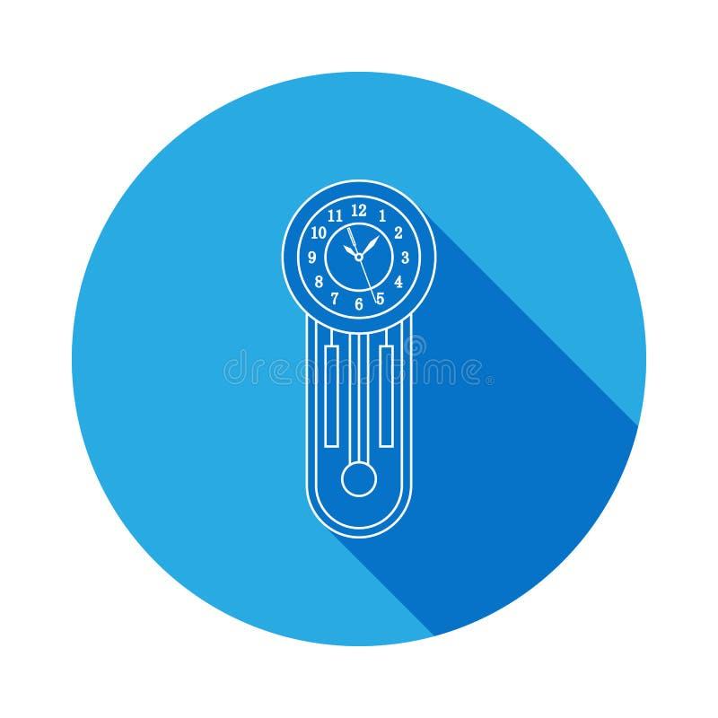 Ретро деревянная линия значок часов маятника Значок часов с длинной тенью Наградной качественный графический дизайн Знаки, собран иллюстрация вектора
