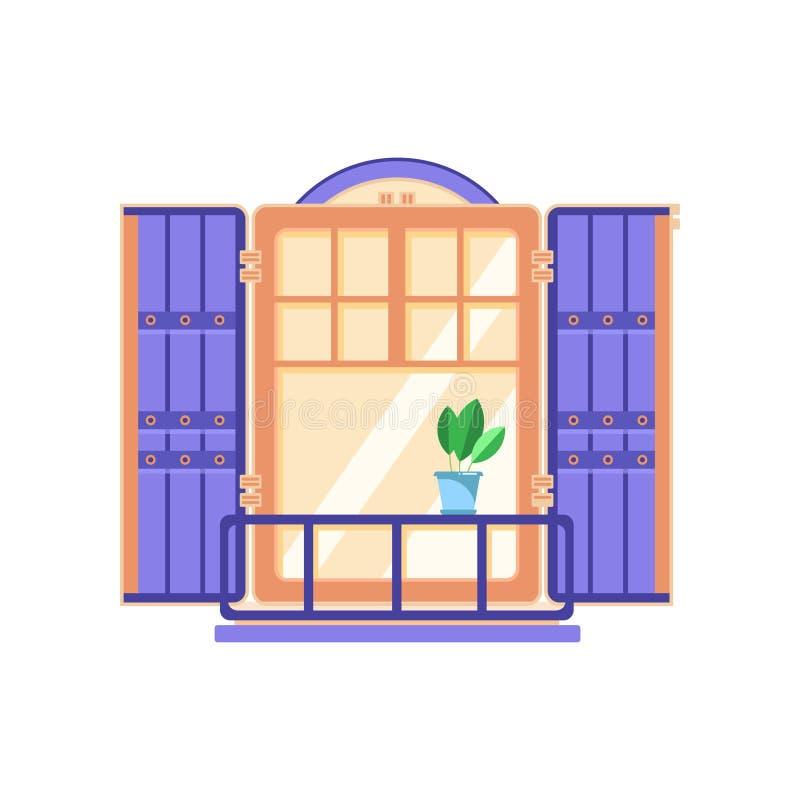 Ретро деревянное окно с голубыми штарками, иллюстрация вектора элемента архитектурного дизайна на белой предпосылке иллюстрация штока