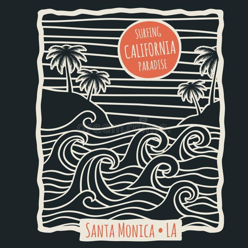 Ретро дизайн вектора футболки вектора прибоя пляжа лета Калифорнии с пальмами и океанскими волнами иллюстрация штока