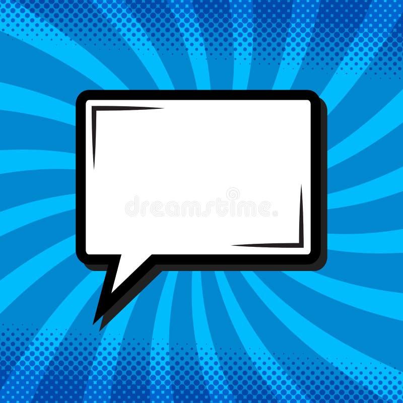 Ретро думая пузырь речи в стиле искусства шипучки шуточном на сини стоковые фотографии rf