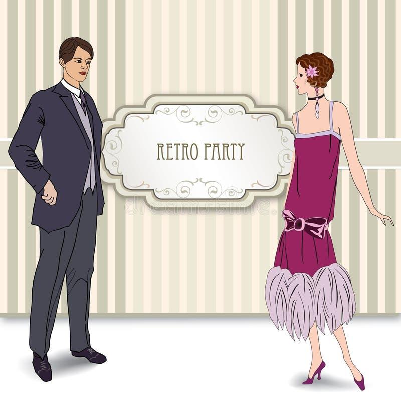 Ретро девушка искусства зажима в 1930s FashionStyle иллюстрация вектора