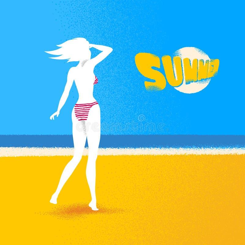 Ретро девушка смотря море Grungy плакат текстуры dotwork иллюстрация штока