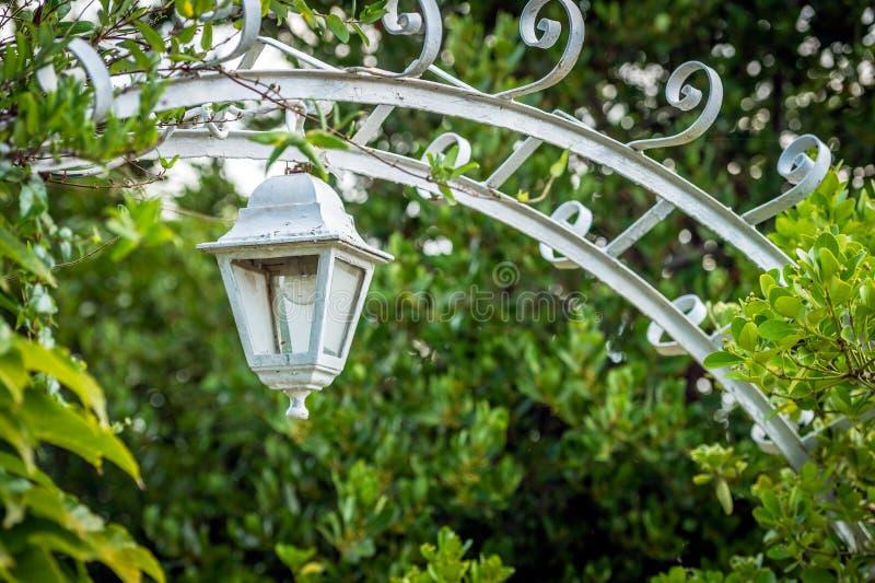 Ретро декоративный фонарик в саде стоковое изображение