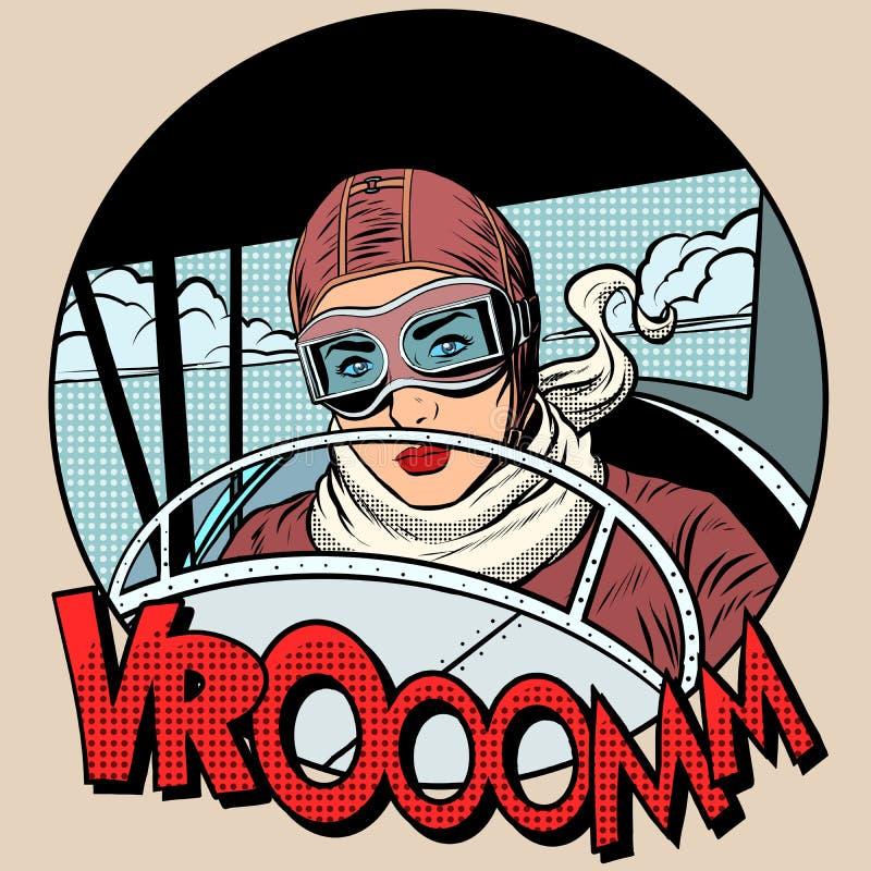 Ретро женщина авиатора на самолете бесплатная иллюстрация
