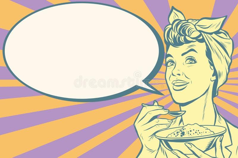 Ретро женщина есть кашу утра иллюстрация вектора