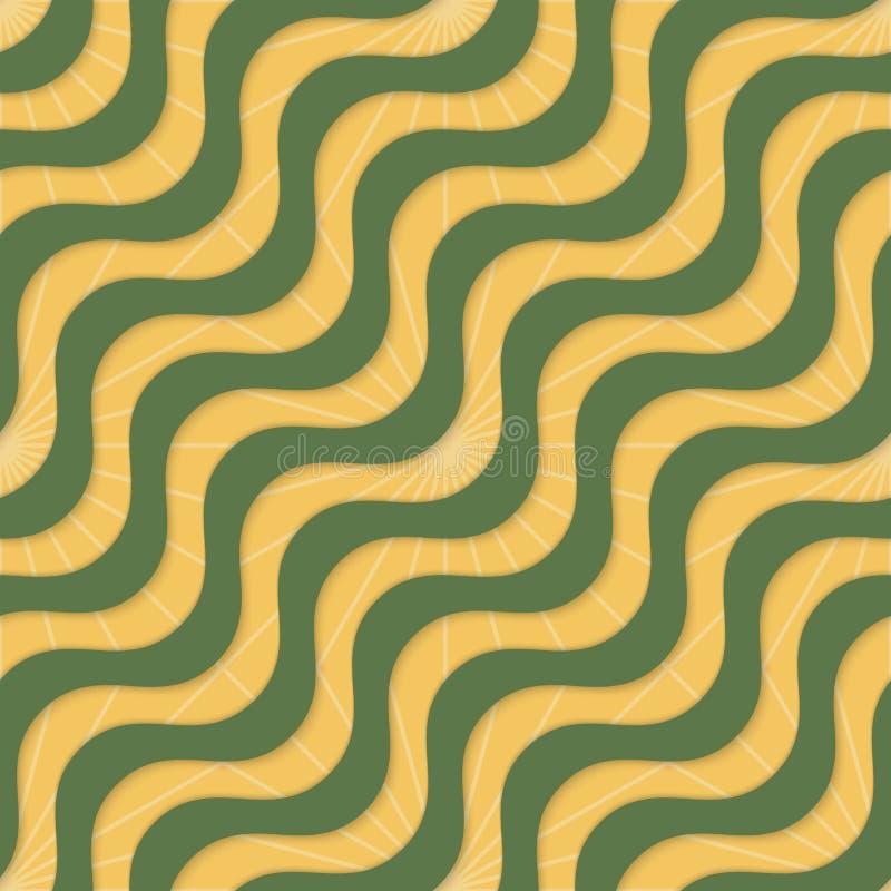 Ретро желтые зеленые волны 3D и лучи иллюстрация вектора