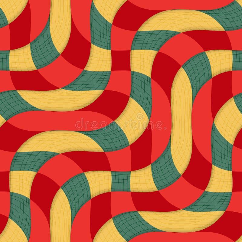 Ретро желтый красный перекрывать 3D развевает с текстурой иллюстрация штока