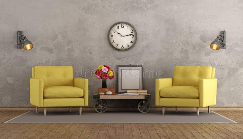 Ретро живущая комната с 2 желтыми креслами иллюстрация вектора