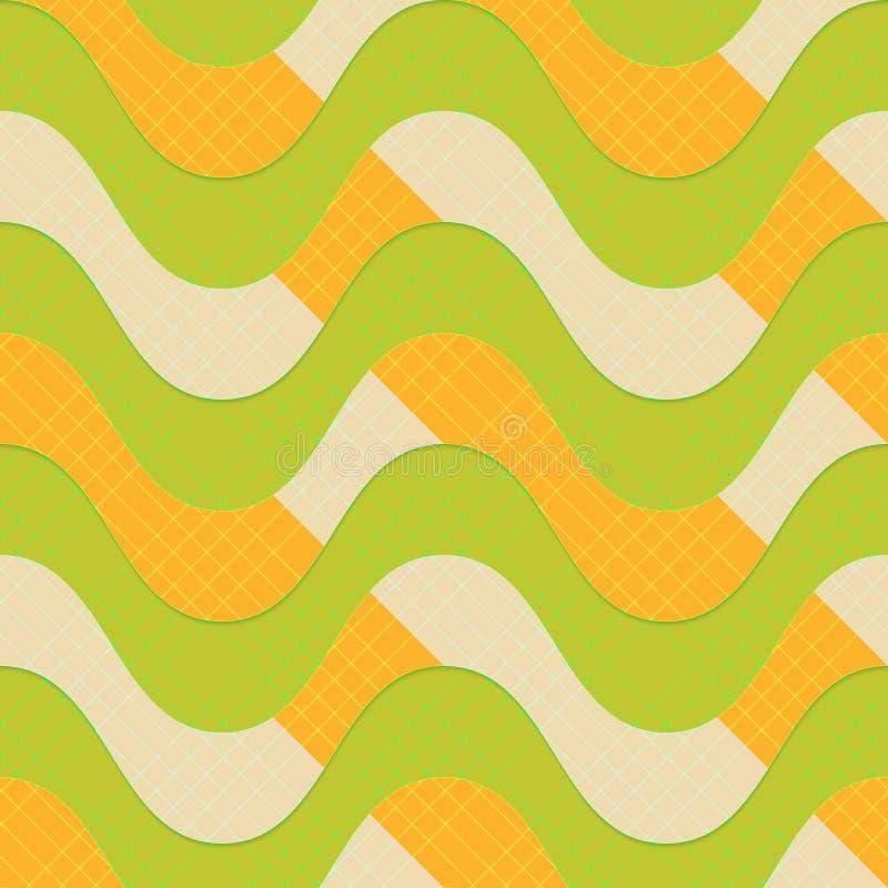 Ретро зеленые волны 3D с оранжевыми нашивками бесплатная иллюстрация