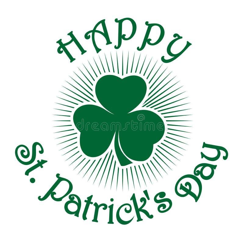 Ретро зеленый значок клевера Клевер Shamrock трилистник Зеленый клевер лист Символ торжества дня St Patricks иллюстрация штока