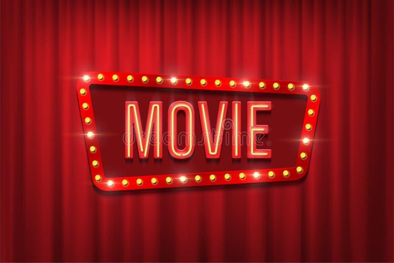 Ретро знак кино с рамкой шарика на красной предпосылке занавеса также вектор иллюстрации притяжки corel иллюстрация штока