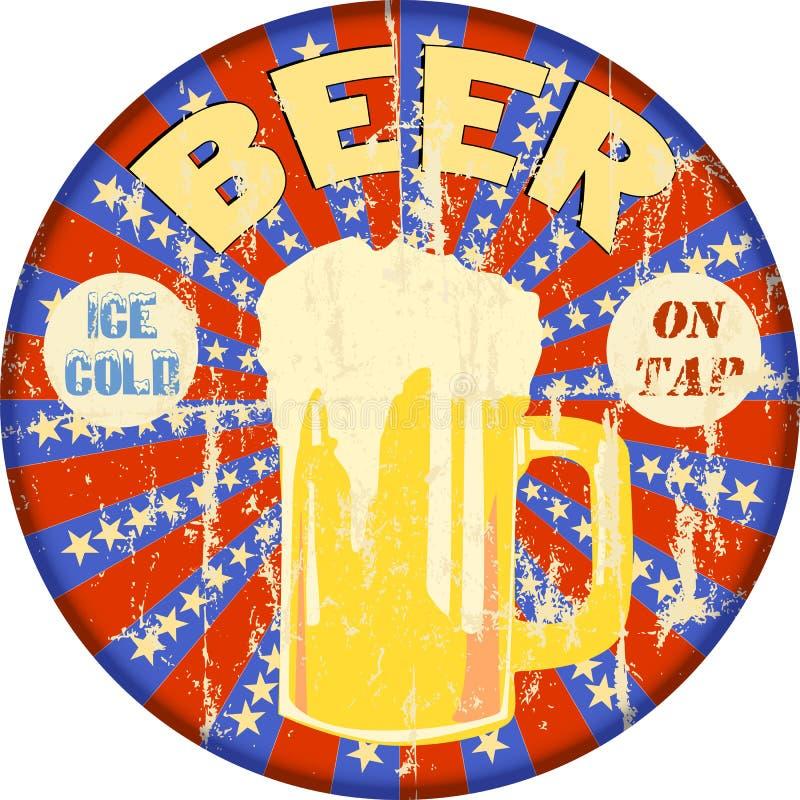 Ретро знак эмали рекламы пива, вектор бесплатная иллюстрация