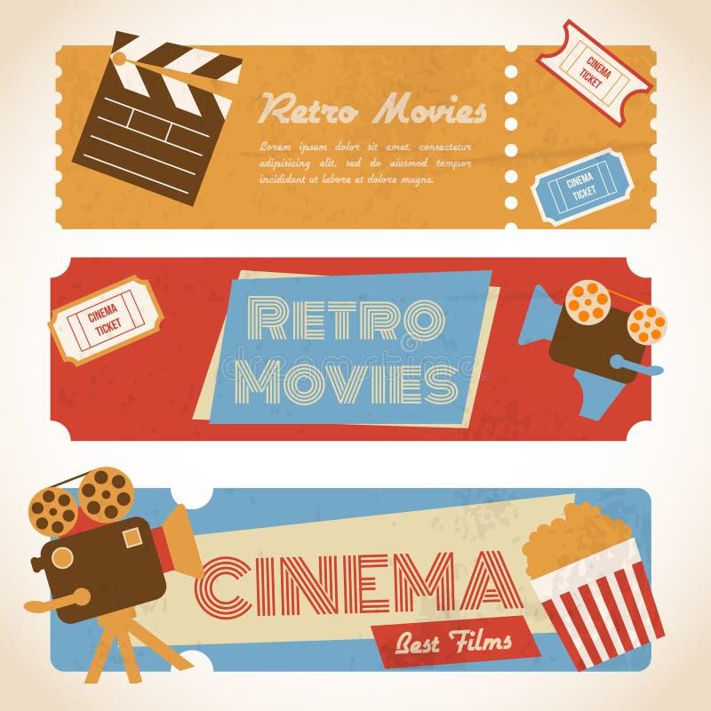 Ретро знамена кино иллюстрация вектора