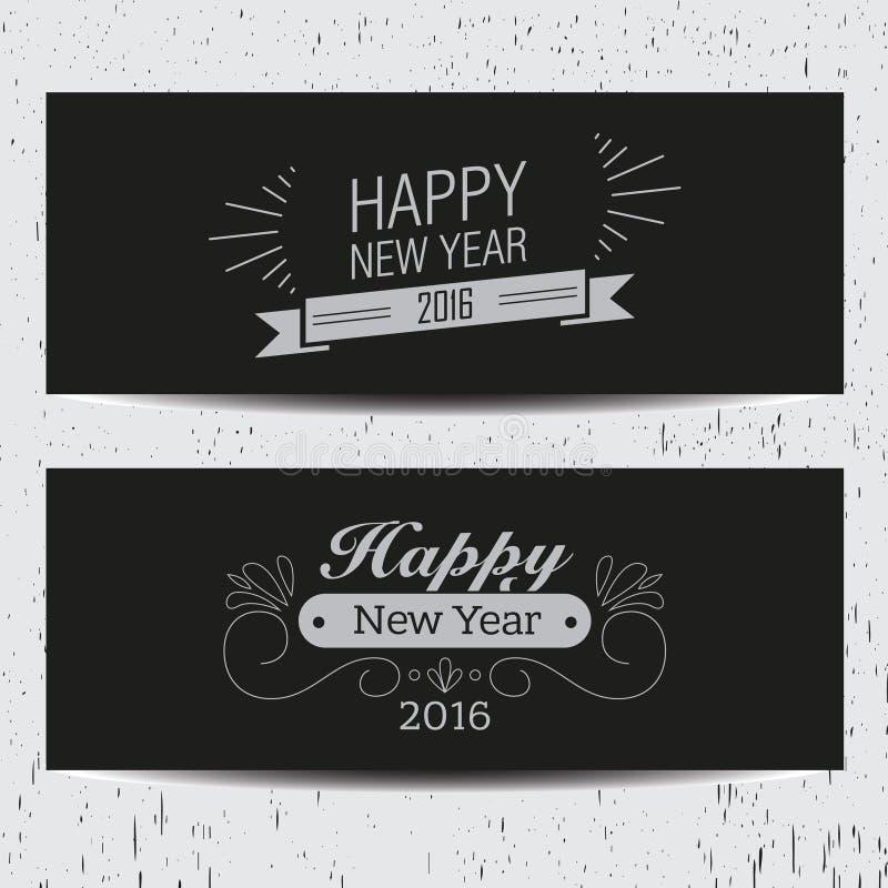 Ретро знамена Нового Года бесплатная иллюстрация
