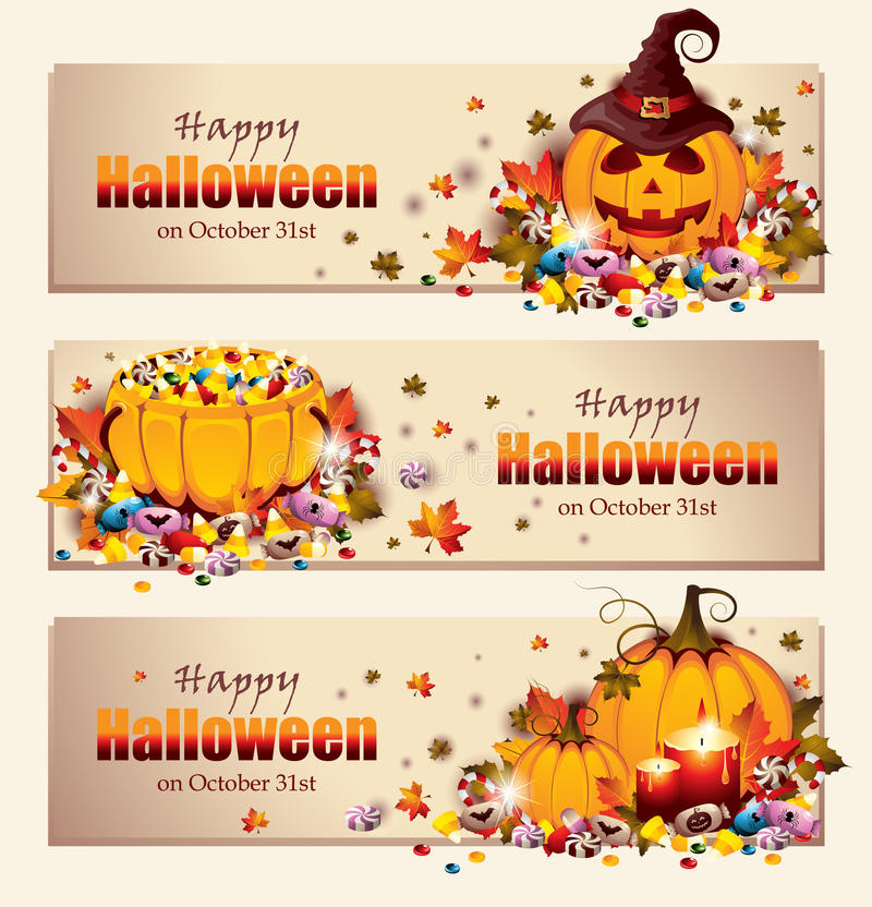 Ретро знамена хеллоуина бесплатная иллюстрация