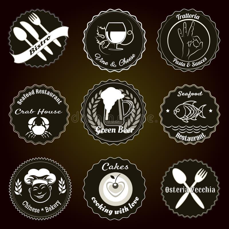 Ретро значки меню ресторана иллюстрация вектора