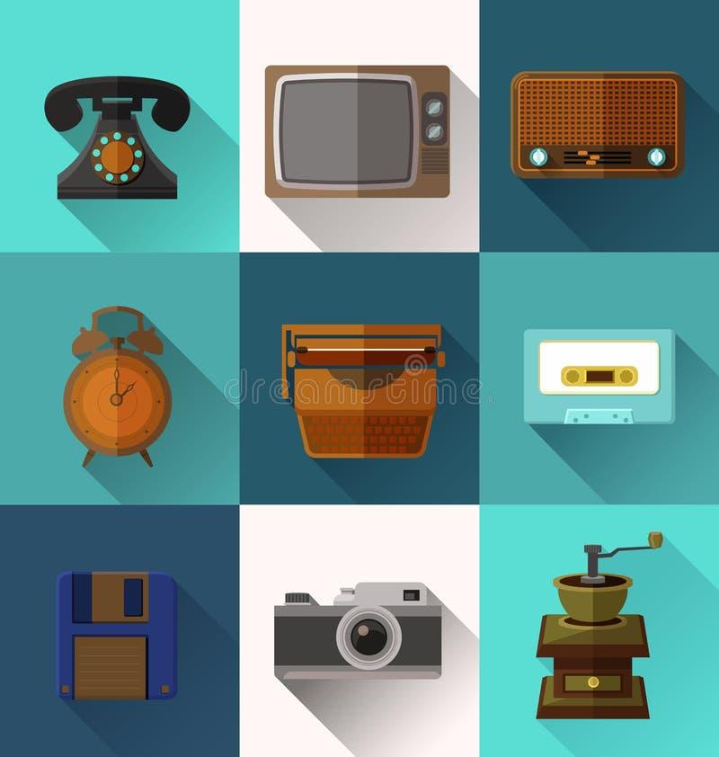 Ретро значки объекта бесплатная иллюстрация