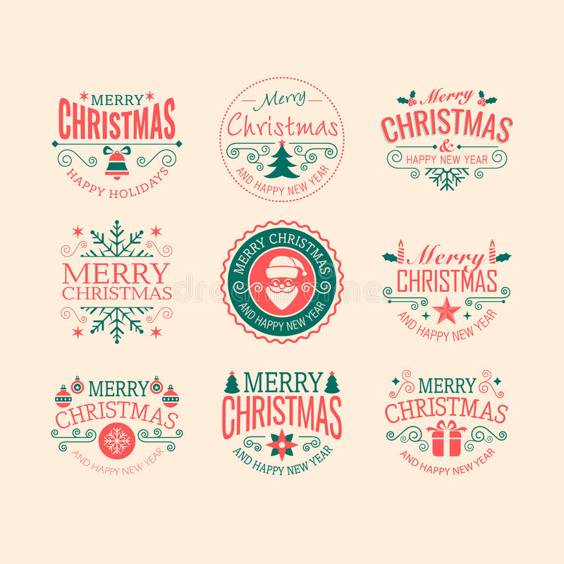 Ретро значки рождества бесплатная иллюстрация