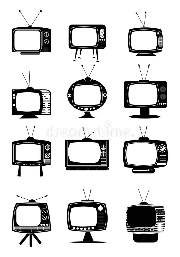 Ретро значки ТВ иллюстрация штока