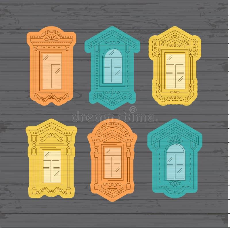 Ретро значок окна, рамки года сбора винограда окна Собрание окон на деревянной стене Изолированная тонкая линия значки, вектор бесплатная иллюстрация