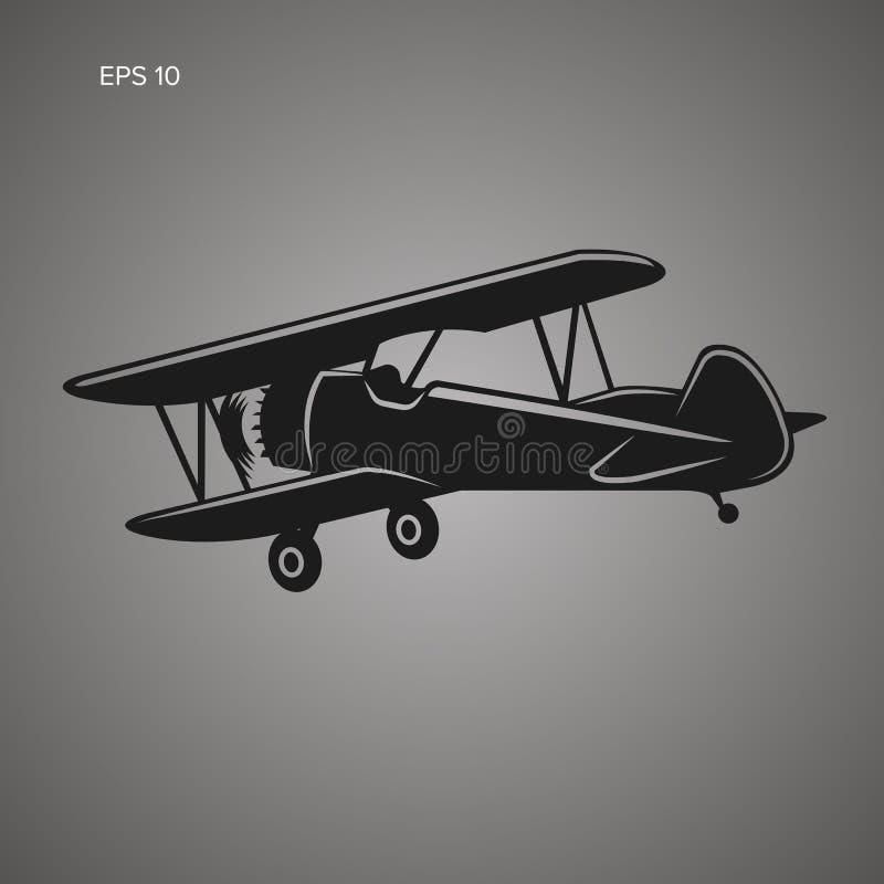 Ретро значок плоского вектора самолет-биплана Винтажный самолет двигателя поршеня иллюстрация штока