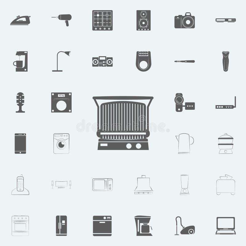 ретро значок прибора радио Комплект Electro значков всеобщий для сети и черни иллюстрация штока