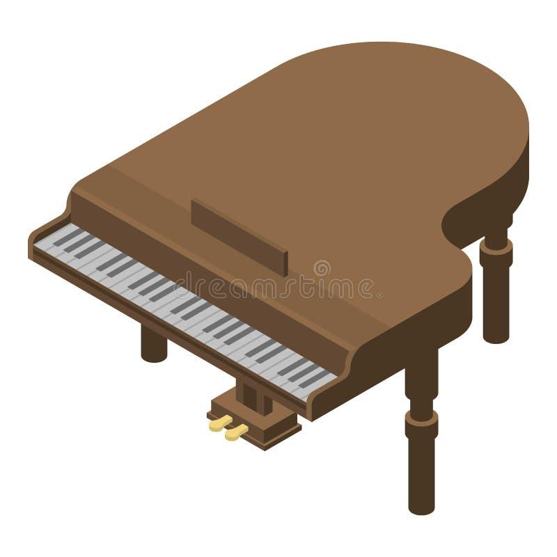 Ретро значок рояля, равновеликий стиль иллюстрация вектора