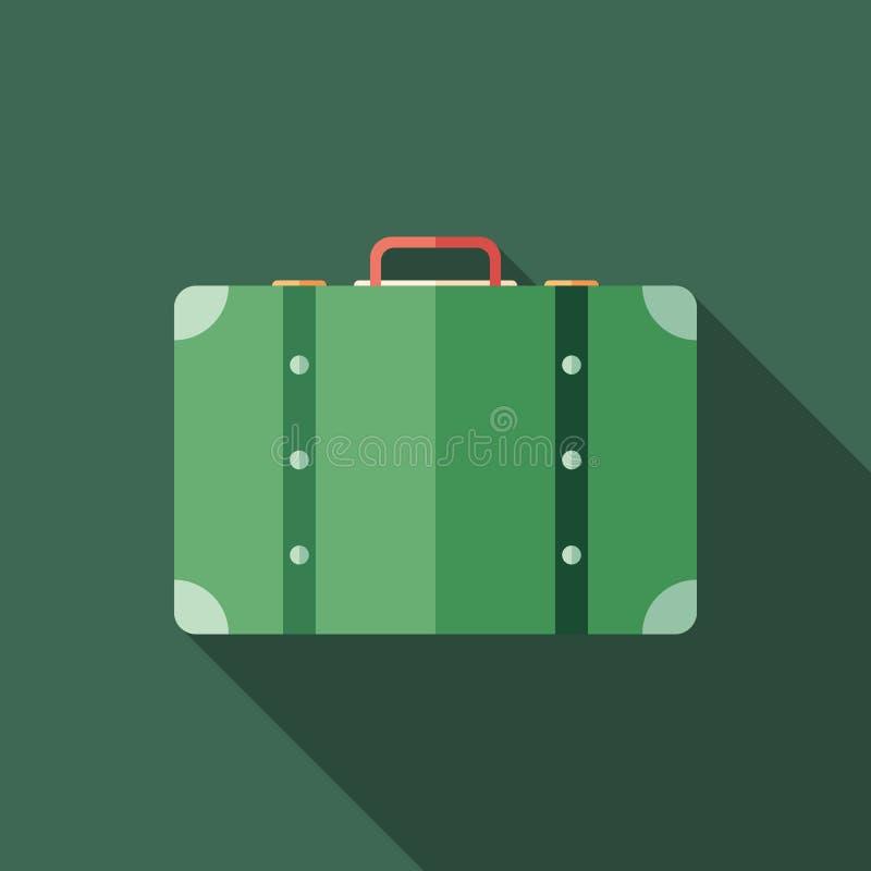Ретро значок тонкого угольника чемодана с длинными тенями иллюстрация вектора