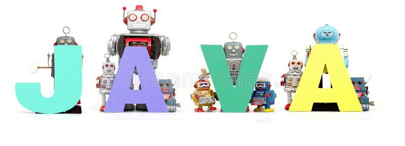 Ретро игрушки робота олова задерживают слово ЯВА изолировали стоковое изображение