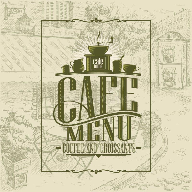 Ретро идея проекта, кофе и круассаны крышки меню кафа стиля иллюстрация штока
